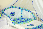 HEARTS 3 PCS BABY BEDDING SET - BUMPER & DUVET COVER & PILLOWCASE (to fit cot / cotbed AVAILABLE IN 15 COLOURS