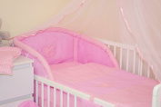 HEARTS 3 PCS BABY BEDDING SET - BUMPER & DUVET COVER & PILLOWCASE (to fit cot / cotbed AVAILABLE 15 COLOURS