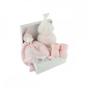 Bam bam New Baby Girl Pink Gift Box with Comfort Blanket, Booties, Teether & Soft Cuddle Duck