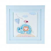 "Handcrafted Pastel Blue ""Little Elephant"" Wall Picture Decoration for Baby Boys Nursery Room"
