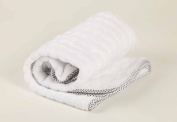 Soft Plush Baby Blanket White with Polka Dots Satin Trim