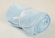 Soft Plush Baby Blanket Blue Satin Trim