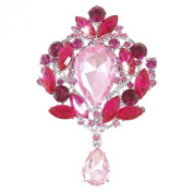 Ever Faith Austrian Crystal Teardrop Brooch Pendant Pink Silver-Tone A02683-23
