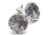 ROUND WATCH MOVEMENT STEAMPUNK MENS WEDDING VINTAGE SILVER CUFFLINK CUFF LINKS