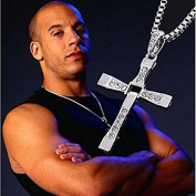 Fast & Furious Brave Mens Cross Pendant Necklace Chain Crystal Silver