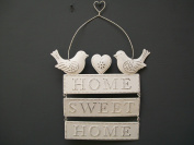 Sass & Belle - Vintage Cream 'Home Sweet Home' Hanging Plaque With Birds & Heart