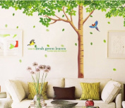 Fresh green leaves friendship tree wall sticker for living room