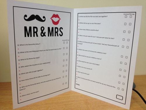 Mr And Mrs Hen Questions: Mr & Mrs Wedding Hen Night Party Games