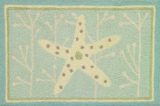 Starfish On Spa Blue Accent Area Memory Foam Rug