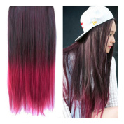 Stepupgirl 60cm Black to Burgundy Wine Red Ombre Dip-dye Straight Full Head Clip in Hair Extensions