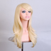 Kamo 70cm Light Blonde Long Big Wave Hair Synthetic Wig Costume Hair