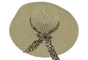 MERSUII™Fashion Women Girls Leopard Straw Sunhat Beach Cap Floppy Ribbon Bowler Large Brim Visor Summer Beach Hat