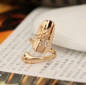1pcs Stylish Dragonfly Flower Shiny Rhinestone Finger Tip Nail Ring Gold