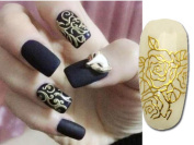Relipop 108 One Sheet Golden 3d Flower Nail Art Stickers Decals Glitters Decorations Tips