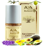 Natural Eye Cream for Dark Circles - Premium Vegan Contour Under Eye Creme - Shea, Jojoba, Olive, Almond, Rosemary and Avocado Oils Blend