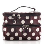 JOVANA Unique Dots Pattern Double Layer Cosmetic Bag Brown