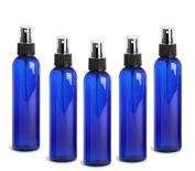 Cobalt Blue PET Cosmo Plastic Bottle (PBA Free) 120ml w/ Black Fine Mist Spray Atomizer (3 Bottle Pack) by Grand Parfums