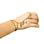 Suppion Fashion New Leaves Turquoise Bracelet Finger Ring Bangle Slave Chain