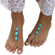 Lowpricenice(TM)Barefoot Sandal Foot Jewellery Turquoise Beads Beaded Stretch Anklet Chain