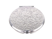 Metal Round Compact Mirror Embossed with Filigree Pattern