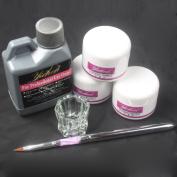 Ships From CA, USA Basic Nail Art Kit White Pink Clear Acrylic Powder Acrylic Liquid Pen Dappen Dish Kit