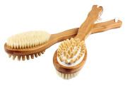 Bamboo Bristle Bath Brush,Skin Brush, Long Handle, Natural Bristles, Dual Head with Natural Boar Bristles