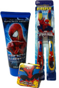 Marvel Ultimate Spiderman Bath, Shower and Dental Bundle-3 Items Body Wash, Toothbrush and Wash Cloth