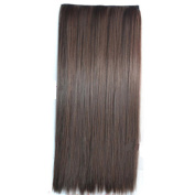 Wigico 60cm Straight Full Head Clip in Hair Extensions Black
