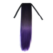 Wigico 60cm Long Straight Women Girl's Hairpiece Wrap Clip Hot Ponytail Colour Synthetic Hair Extensions Two Tone