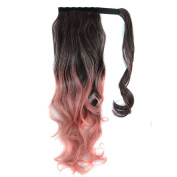 "Wigico New Fashion Two Tone 22"" Curly Highlights Ponytail Hair Extension Hairpiece Wig for Women (black to hot pink)// Ombre Dip-dye Colour Wrap Around Ponytail 50cm Length Black to Pink Wavy for Pretty Girls"
