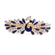 So Beauty Women's Peacock Showing off Tails Shaped Rhinestone French Barrette Hair Clip Blue