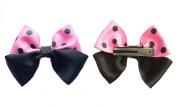 Pink & Black Polka Dot Hair Bow