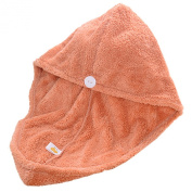 Lovely Coral Velvet Towel Dry Hair Dry Hair Cap