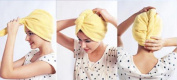 Hair Towel Twist Hair Drying Towel Microfiber Yellow