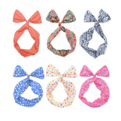UZZO 6PCS Korean Lovely Style Women Girls Wire Headband Multi-function Wired Twist Bunny Ear Bowknot hair band head band band hoop accessory tie hairbands headbands Scarf Wrap With 1Free Keyring
