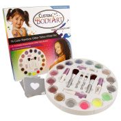Custom Body Art - 16 Colour Rainbow Wheel Glitter Tattoo Set; 30 Variety Themed Stencils, 2 Glitter Brushes & 4 Body Glues
