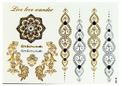 Temporary Tattoos for Eid Ramadan Wedding Mehndi Raat and Other Partiies Metallic Designs
