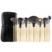 Smartstar Professional 24 pcs Original Wooden Handle Handmade Cosmetic Makeup Brushes Facial Brush Kit Set with Leather Case - Wood