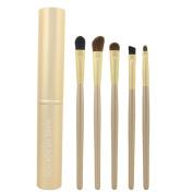 Smartstar 5 pcs Eye Makeup Tool Vegan Cosmetic Brushes Kit Featuring Highlight,Eyeshadow Blending, Concealer Cosmetic Brushes - Gold