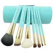 Smartstar 7Pcs Premium Kabuki Blue Makeup Brush Set Face Powder Foundation Eye Cosmetic Brush Kit with Roller Case