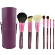 Smartstar 7Pcs Premium Kabuki Purple Makeup Brush Set Face Powder Foundation Eye Cosmetic Brush Kit with Roller Case