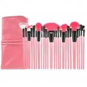 Smartstar Professional 24 pcs Original Wooden Handle Handmade Cosmetic Makeup Brushes Facial Brush Kit Set with Leather Case - Pink