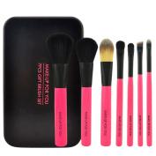 Smartstar 7Pcs Lovely Pink Portable Cosmetic Brushes Black Tin Box Mini Travel Makeup Brushes