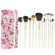 Smartstar 12 Pcs Makeup Cosmetics Brushes Set Kits with Pink Flower Pattern Case