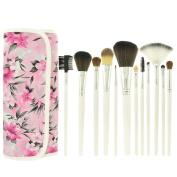 Smartstar 12 Pcs Makeup Cosmetics Brushes Set Kits with Pink Flower Pattern Case