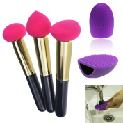 Hotrose® Set of 3pcs, Cosmetic Make Up Liquid Cream Beauty Sponge Brush Set & a Silicone Brush Cleanner