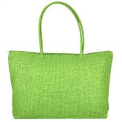 TOOGOO(R) Ladies Straw Weaving Summer Beach Tote Bag Shopping Travelling Zippered Bag-rose red