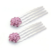 DoubleAccent Hair Jewellery Small Swarovski Crystal Cluster Mini Bridal Hair Comb Set of Two Pink Colour