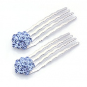 DoubleAccent Hair Jewellery Small Swarovski Crystal Cluster Mini Bridal Hair Comb Set of Two Blue Colour