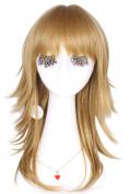 L-email 60cm/23.62inch Long Fashion Women Curly Wavy Cosplay Wig Flaxen Fl31